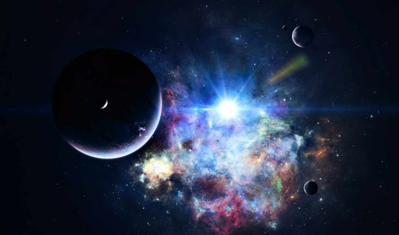неразобранное, альбома, мегабайт, звезды, яркой, планеты, космосе, фоне,