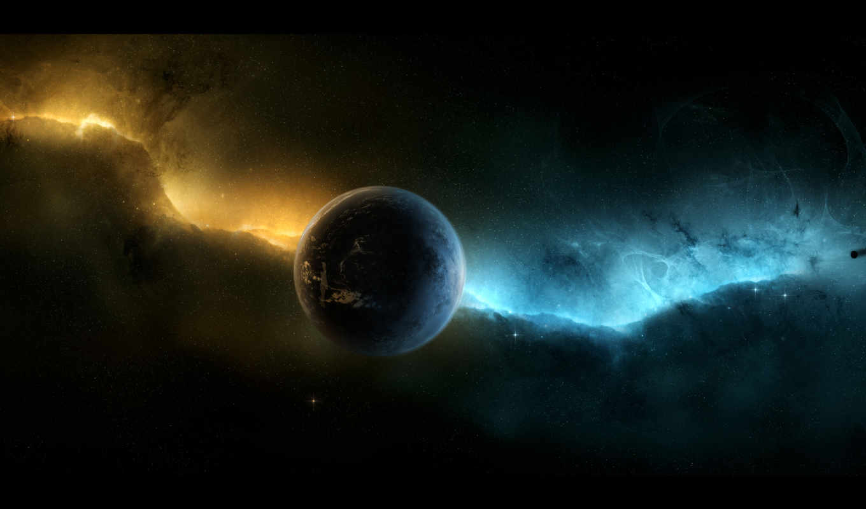 планета, звезды, пространство, бесконечность, nebula, aurora,