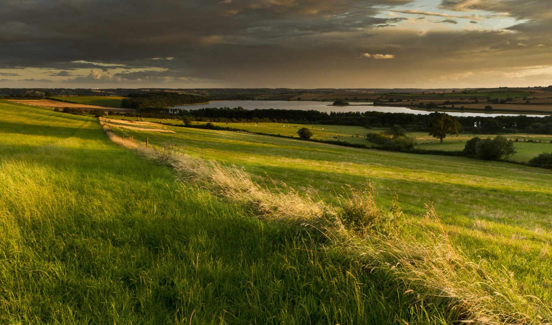 англия, поля, великобритания, небо, природа, облака, долина,