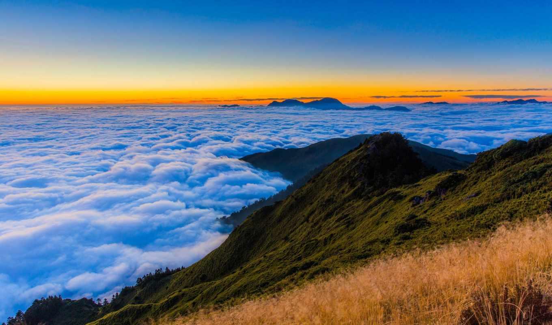 природа, горы, landscape, небо, разделе, облака,