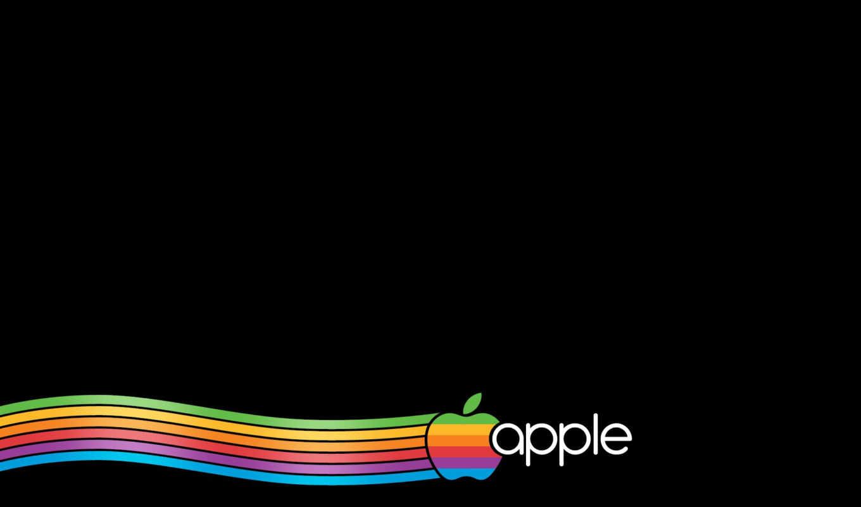 apple, лого, радуга, надпись, чёрный