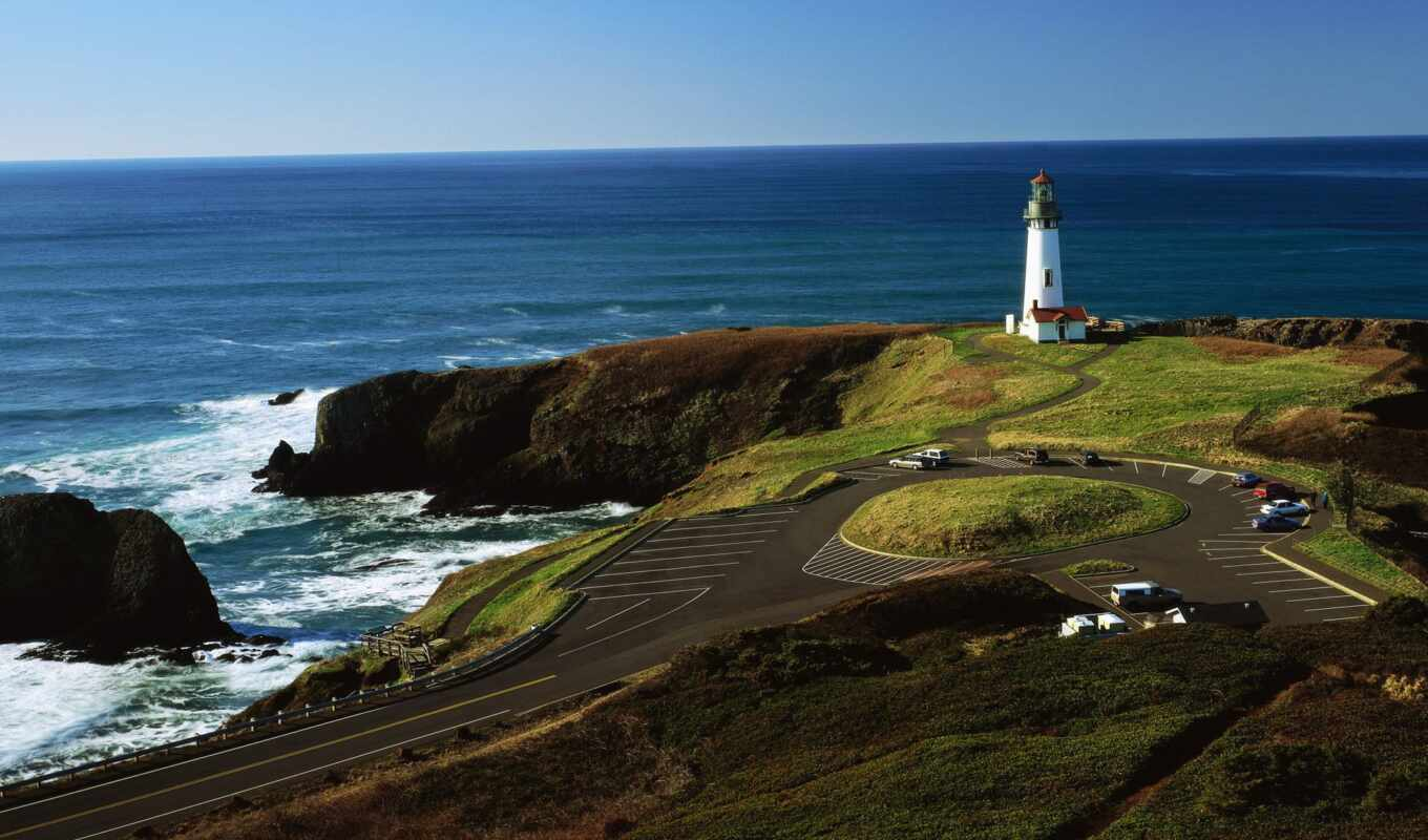 берег, oregon, ocean, панорама, usa, северная, море, pacific, america, lighthouse, дорога,