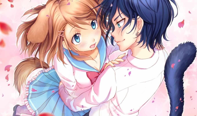 anime, couples, pinterest, art, fabso, tails, девушка, ушки, manga, ahri,
