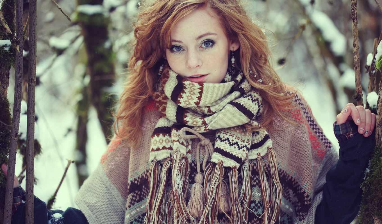 шарф, девушка, devushki, шарфом, рыжая, лесу, winter, любой, голубоглазая, clamp, accessories,