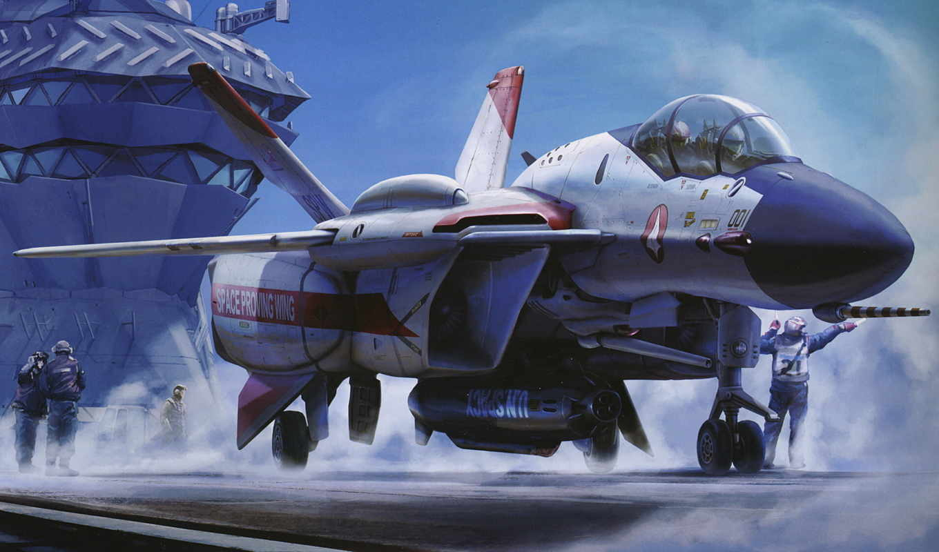 wallpaper, macross, wallpapers, самолет, авианосец, палуба, пилоты, кабина, ракета, plane, fighter, авиация,
