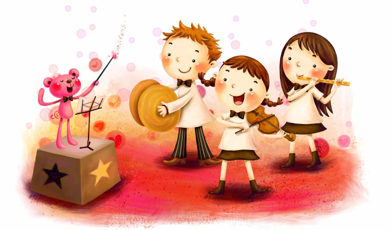 нарисованные, дети, мальчик, девочки, медвежонок, дирижёр, музыка, скрипка, тарелки, флейта, палочка