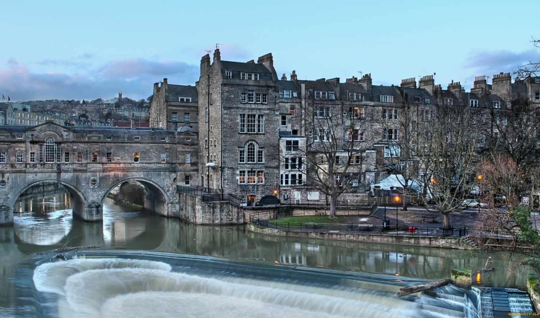 hdr, города, дома, англия, мост, pulteney, ванна, реки, мосты, bridges, houses,