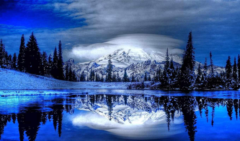 природа, full, снег, красивые, зимние, картинка, water, заставки, горы,
