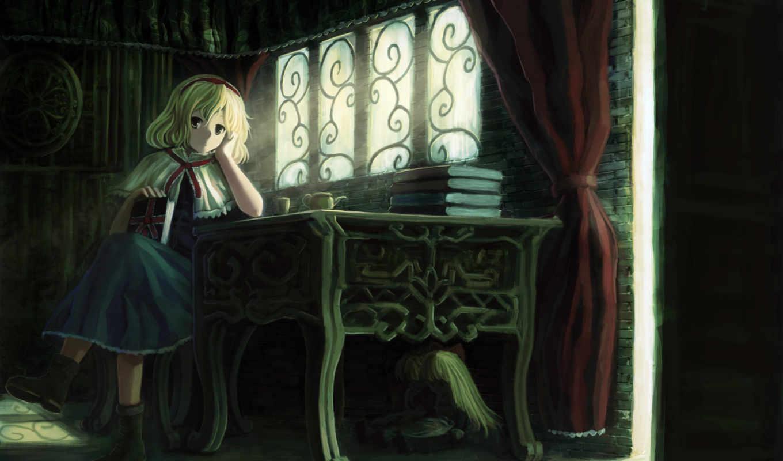 девушка, touhou, алиса, книги, картинка, margatroid,
