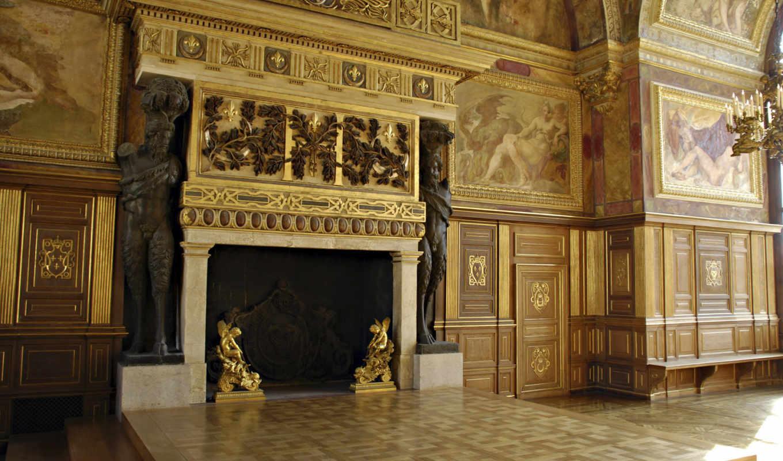 камин, огромный, фонтенбло, дворец, росписями, supported, атлантами, olimp, фотошопа, master, двумя,