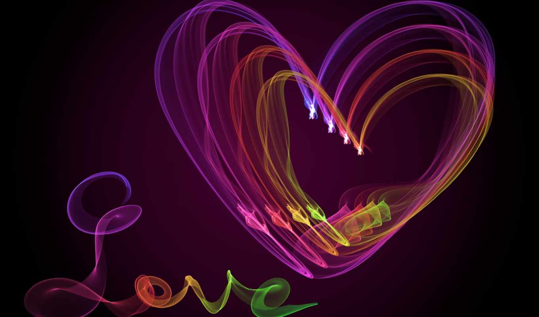 love, сердце, abstract, тона, абстракция, neon, fractal, colorful, you