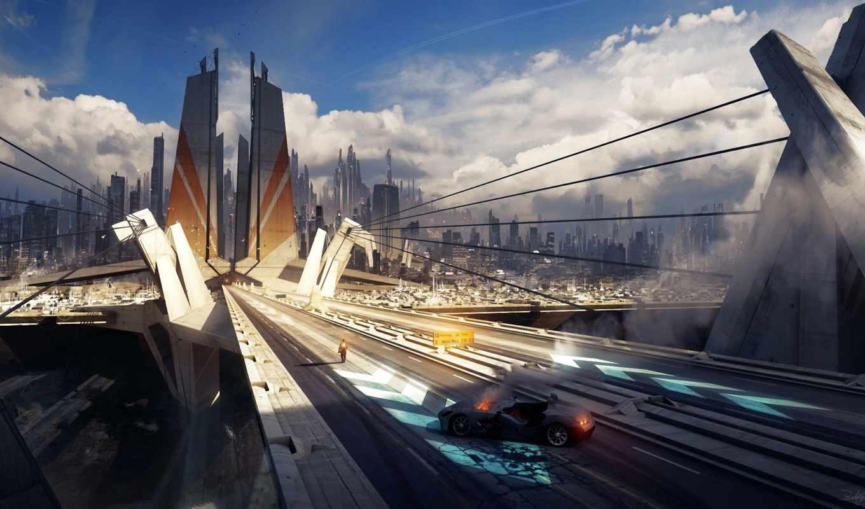город, арт, машина, мост, огонь, тросы, человек, grivetart, road, éïò, картинку, небоскребы,