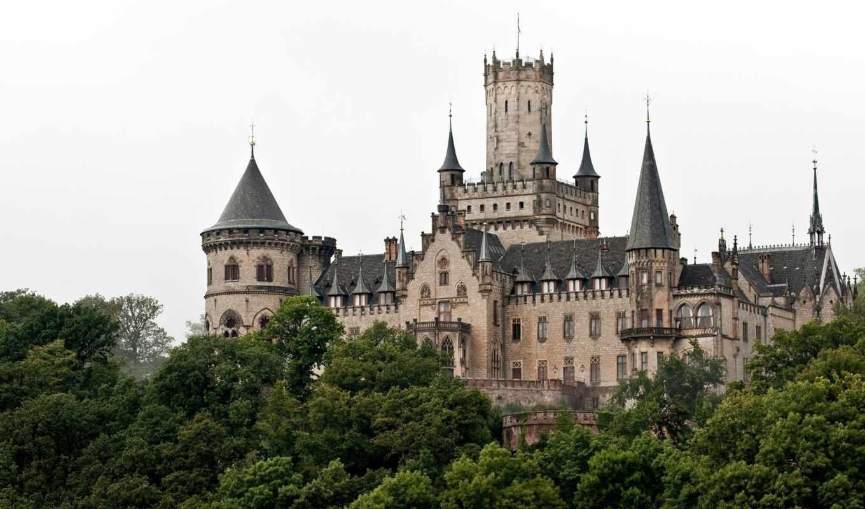 ганновер, marienburg, castle, германия, замок, неоготический, деревья, шпили, башни, картинка,
