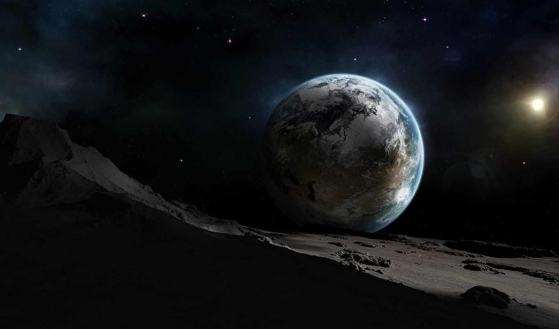 space, planets, planet, outer, земля, вид, планеты, луны,