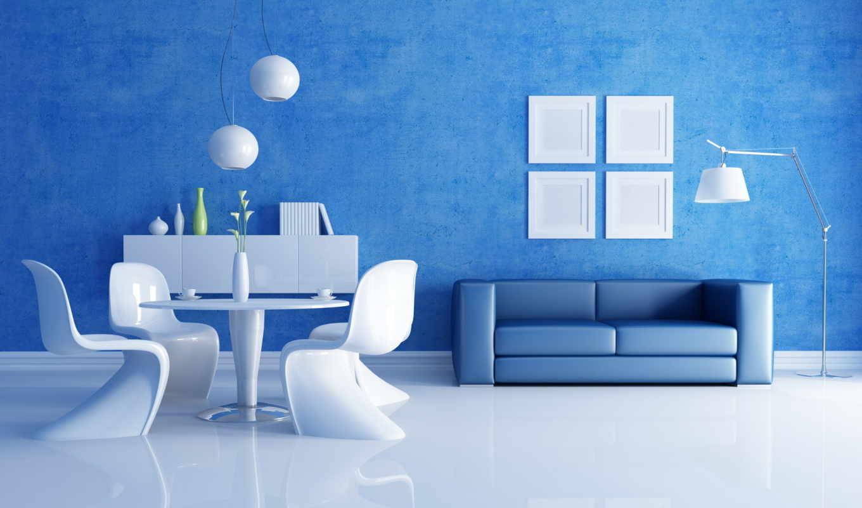 комната, белым, белая, синий, комнате,