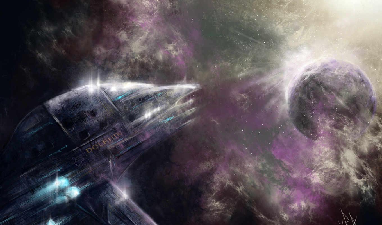 корабль, космос, дельфин, art,