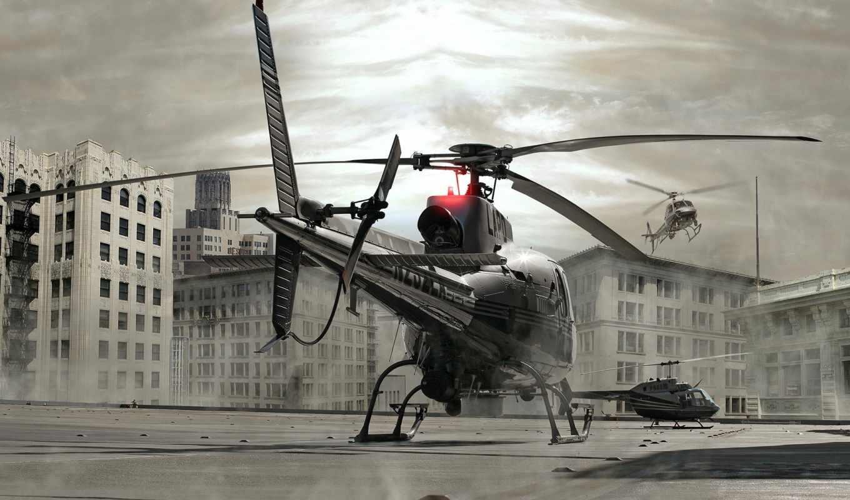 вертолет, крышка, здания, вертолеты, авиация, город, смотрите,
