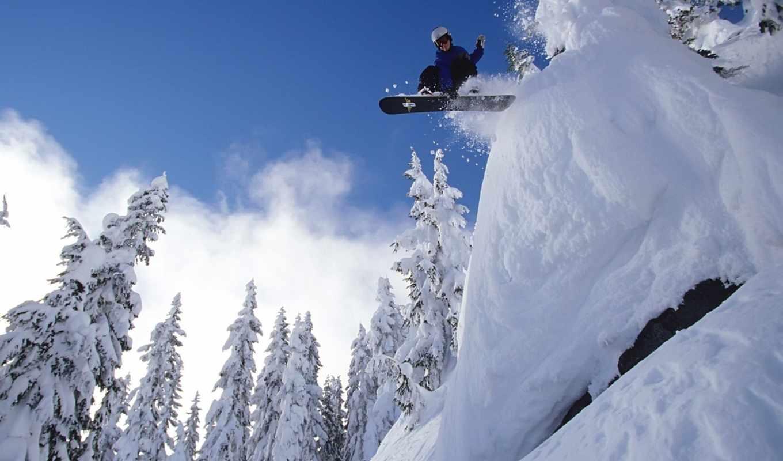 сноуборд, спорт, снег, экстрим, небо, лес, картинка, прыжок,