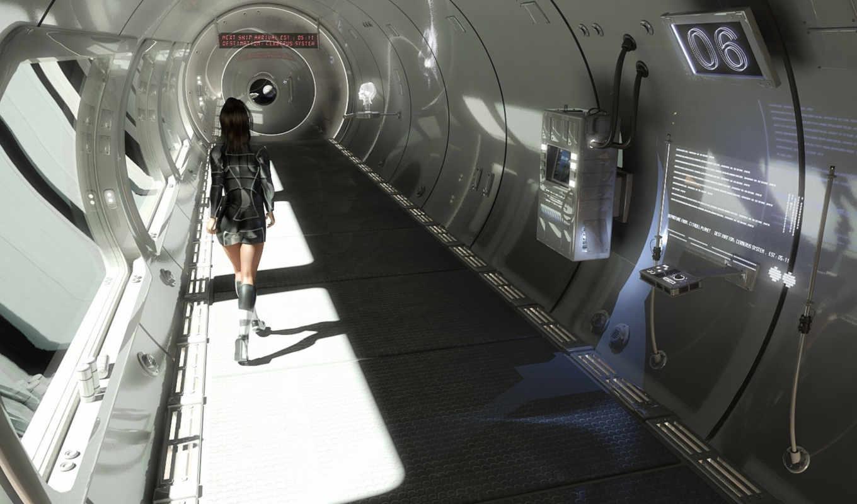 коридор, фантастика, космический, корабль, fantasy, девушка, будущее,