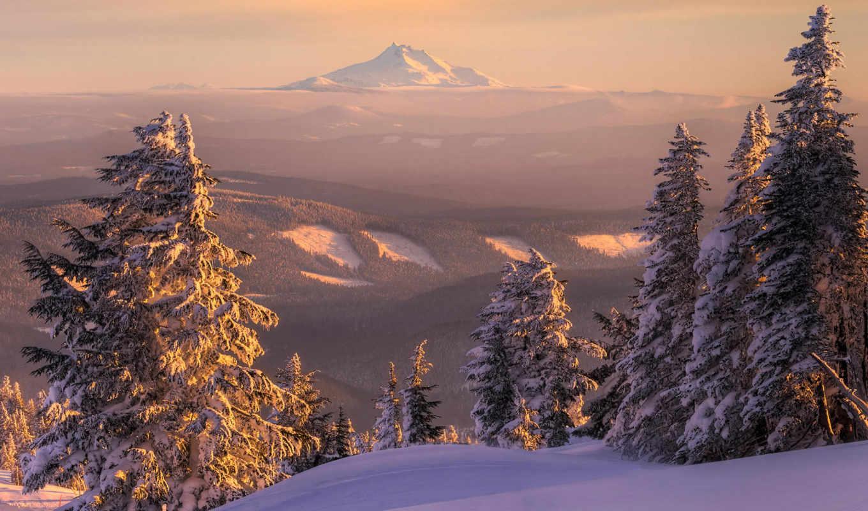 снег, зима, горы, природа, пейзаж, ели, закат, сугробы, лес, сопка, елка, горизонт, вид, bilder, тайга, mount, просмотров,