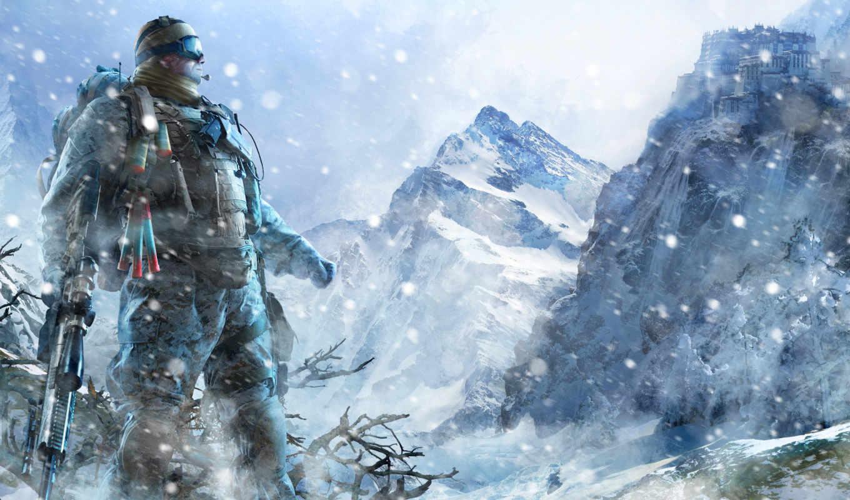 ghost, warrior, sniper, снег, горы,