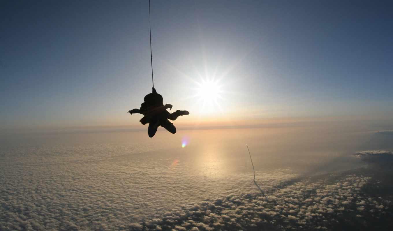 прыжок, адреналин, картинка, oblaka, парашутист, летит, удивление,