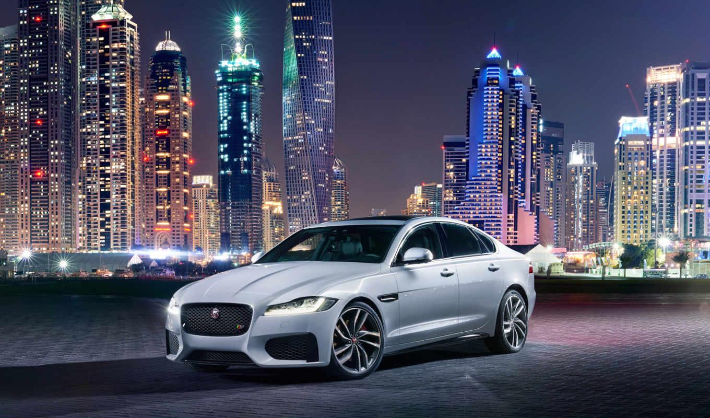 jaguar, car, городе, ночном, машины, город, небоскребы, ночь, new, машина,