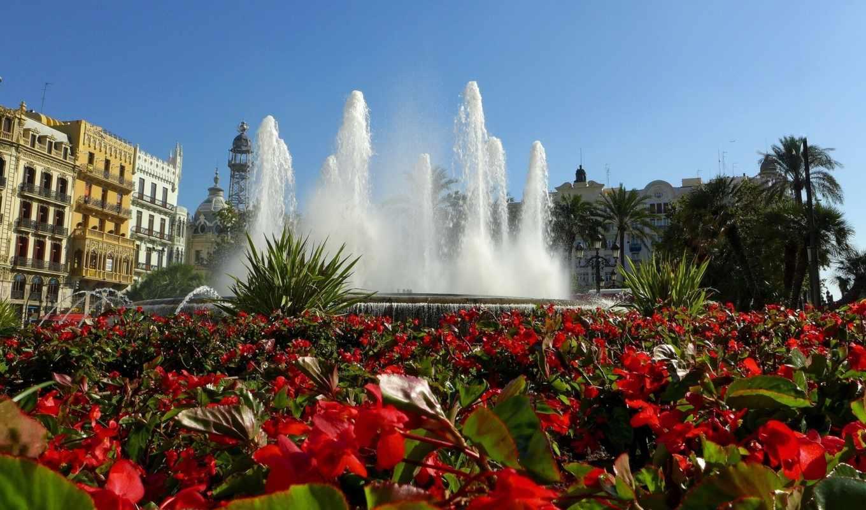 валенсия, испания, фонтан, цветы,