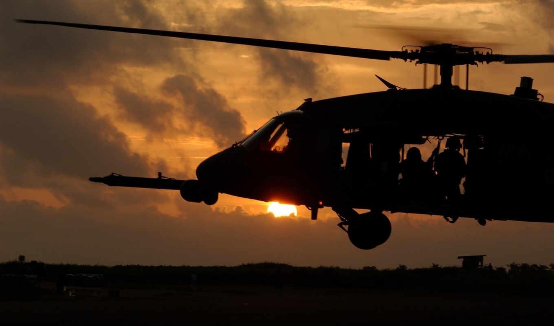 авиация, вертолет, закат, солдаты, вертолеты, пыль, взлёт, боевые,