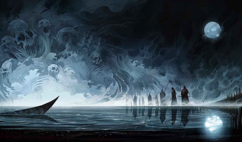 art, moon, туман, fantasy, искусства, красивые, лодки, произведения,