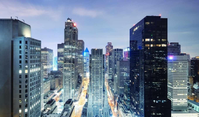 город, небоскребы, ночь, здания, взгляд, chicago, мегаполис, дороги, fish, глаз, york, машины, свет, огни, нью, небо,