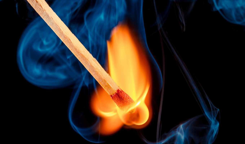 огонь, спичка, дым, makro,