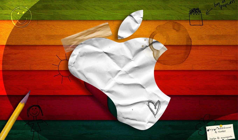 apple, лого, радужный, рисунки, детские, доски, карандаш, надписи