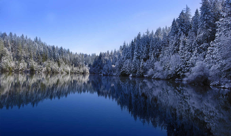 winter, озеро, лес, снег, природа,