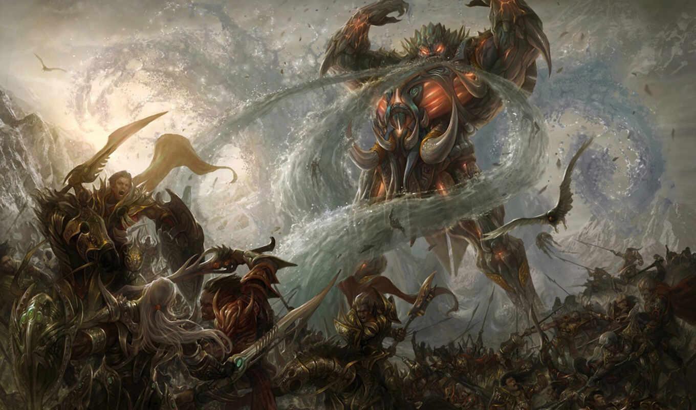 демон, art, abyss, магия, битва, горы, птица, армия, гигант, water,
