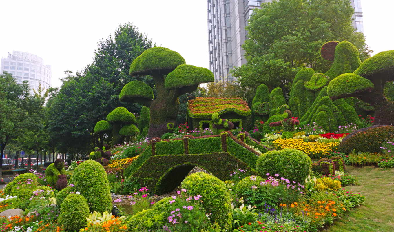 сады, парки, мира, botanical, пруд,