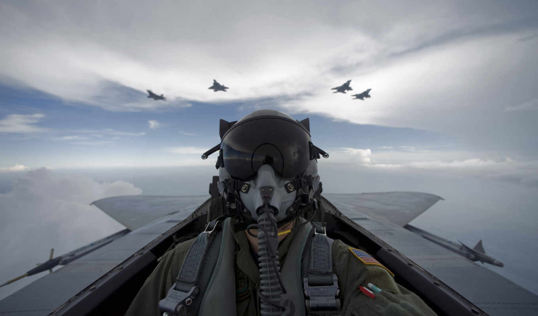 самолёт, пилот, небо,