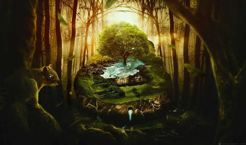 фантастика, лес, дерево, desktopography, фон, high, free, resolution, изображение,