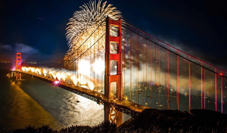 мост, gate, золотистый, fireworks, san, francisco,