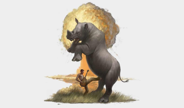 взрыв, носорог, юмор, трава, мужик, рисунок, гитара,