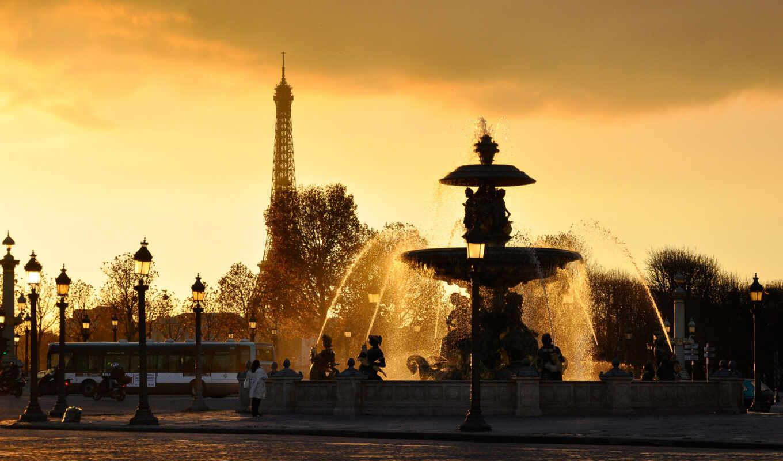 paris, вода, фонари, франция, фонтан, струи,