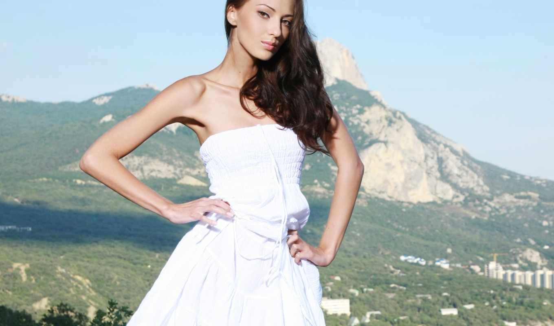 анна, sbitnaya, платье, девушка, брюнетка, модель, очень, белое,
