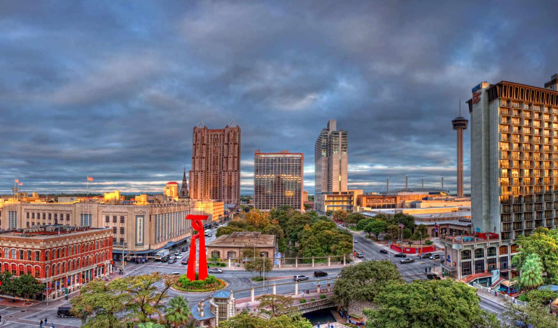 texas, сан, antonio, buildings, hdr, san, взгляд, город,