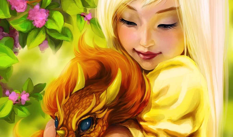 дракон, девушка, love, fantasy, art, эльф,