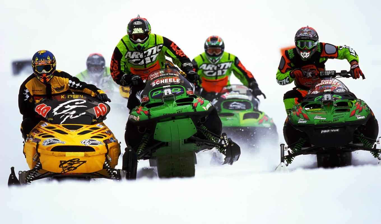 гонки, снегоход, снег, снегоходах, картинка, гонка, sport, поделиться,