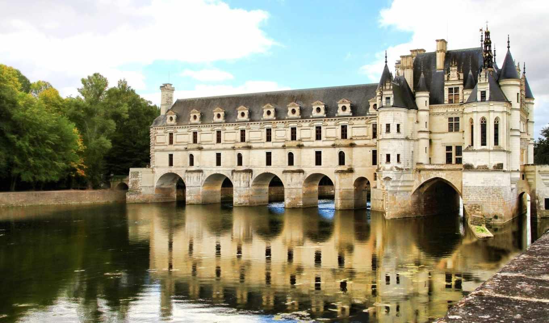 париж, франция, castle, шенонсо, chenonceau,