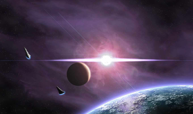 планета, сияние, звезды, вспышка, спутник, space, spaceships, stars, planets,