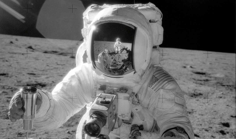 космонавт, луна, отражение, луне,
