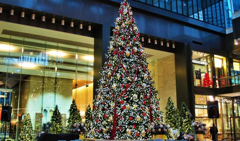 елка, новый, рождество, год, праздники, новогодние, праздник, гирлянды, улица,