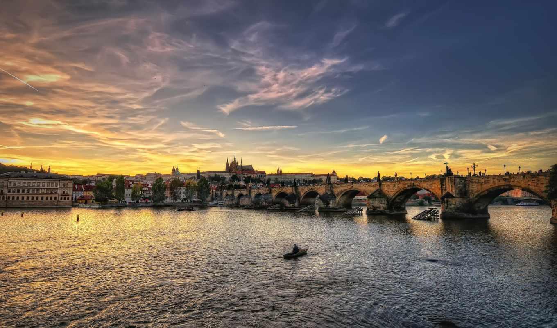 прага, чехия, мост, река, город, широкоформатные,